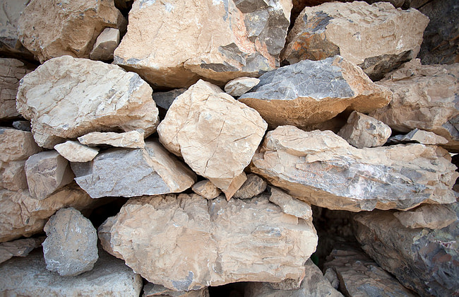 Бутовый камень известняковый 80-200
